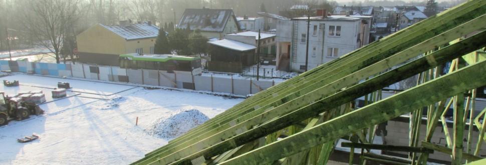 Konstrukcja dachu pawilonu handlowego w miejsc. Tomaszów Mazowiecki